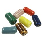 Beads xham porcelani, Tub, xham, ngjyra të përziera, 17x9mm, : 2mm, 150PC/Qese,  Qese