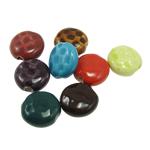 Beads xham porcelani, Monedhë, xham, ngjyra të përziera, 18x8mm, : 2.5mm, 80PC/Qese,  Qese