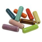 Beads xham porcelani, Tub, xham, ngjyra të përziera, 23x7mm, : 2mm, 150PC/Qese,  Qese