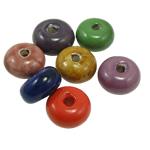 Beads xham porcelani, Rondelle, xham, ngjyra të përziera, 12.50x23mm, : 5mm, 40PC/Qese,  Qese