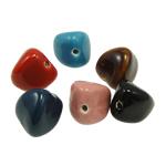 Beads xham porcelani, Trekëndësh, xham, ngjyra të përziera, 21x23mm, : 2.5mm, 30PC/Qese,  Qese