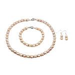 Natyrore kulturuar Pearl ujërave të ëmbla bizhuteri Sets, Pearl kulturuar ujërave të ëmbla, with Diamant i rremë, Round, rozë, 8-9mm, 40x8mm, :16.5Inç,  7.5Inç,  I vendosur