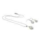 Natyrore kulturuar Pearl ujërave të ëmbla bizhuteri Sets, Pearl kulturuar ujërave të ëmbla, with Alloy zink, Round, natyror, e bardhë, 9x22mm, 9x34mm, :16.5Inç,  I vendosur
