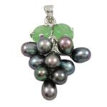 Pendants Pearl ujërave të ëmbla, Pearl kulturuar ujërave të ëmbla, with Tunxh & Alloy zink, Hardhi, natyror, e zezë, 13x35mm, 6-7mm, : 3x5mm,  PC