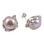 Një palë vathë Pearl ujërave të ëmbla, Pearl kulturuar ujërave të ëmbla, Shape Tjera, asnjë, purpurtë drita, 12-13mm, 15x19mm, 10Çiftet/Qese,  Qese
