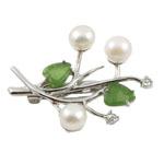 Pearl ujërave të ëmbla karficë, Pearl kulturuar ujërave të ëmbla, with Agat, Lule, e bardhë, 34x40mm, 8-9mm,  PC