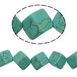 Türkis Perlen, Synthetische Türkis, Würfel, grün, 10mm, Bohrung:ca. 1mm, ca. 29PCs/Strang, verkauft per ca. 15 ZollInch Strang