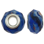 European Beads Crystal, Kristal, Rondelle, core argjendi i pastër me dy pa karrem, 14x9mm, : 5mm, 20PC/Qese,  Qese