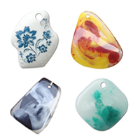 Imitation Gemstone Resin Pendants