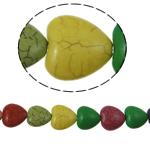 Bruz Beads, Bruz sintetike, Zemër, ngjyra të përziera, 19x8mm, : 1mm, :16Inç, 23PC/Fije floku,  16Inç,