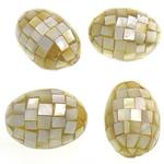 Natürliche gelbe Muschelperlen, oval, gelb, 35-37x25-27mm, Bohrung:ca. 2mm, 10PCs/Tasche, verkauft von Tasche