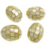 Beads Natyrore Shell Verdha, Oval, asnjë, i verdhë, 29-30x22-23mm, : 1.5mm, 10PC/Qese,  Qese