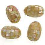 Natürliche gelbe Muschelperlen, oval, gelb, 18-20x12.5mm, Bohrung:ca. 2mm, 10PCs/Tasche, verkauft von Tasche
