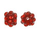 Beads diamant i rremë Rrëshirë, Rrëshirë diamant i rremë, Daulle, asnjë, me diamant i rremë, i kuq, 8x10mm, : 1.5mm, 100PC/Qese,  Qese