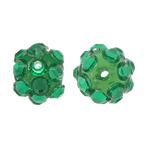 Beads diamant i rremë Rrëshirë, Rrëshirë diamant i rremë, Round, asnjë, me diamant i rremë, e gjelbër, 8x10mm, : 1.5mm, 100PC/Qese,  Qese