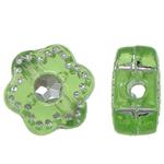 Theks Silver Beads akrilik, Lule, theks argjendi, e gjelbër, 7x4x2mm, : 1.2-1.5mm,  Qese