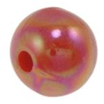 Beads praruar akrilik, Round, colorful kromuar, qetë, i kuq, 10mm, : 2mm, 1000PC/Qese,  Qese