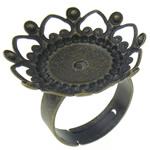 Filigran Brass Ring Base, Tunxh, Ngjyra antike bronz i praruar, asnjë, , nikel çojë \x26amp; kadmium falas, 24x24x5mm, 23mm, : 17mm, :7, 100PC/Qese,  Qese