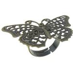 Filigran Brass Ring Base, Tunxh, Ngjyra antike bronz i praruar, asnjë, , nikel çojë \x26amp; kadmium falas, 41x26x0.50mm, : 17mm, :7, 200PC/Qese,  Qese