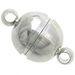 Kapje tunxh magnetik, Round, ngjyrë platin praruar, asnjë, , nikel çojë \x26amp; kadmium falas, 8x14mm, : 1.7mm, 100PC/Qese,  Qese