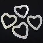 Natürliche weiße Muschelperlen, Herz, weiß, 18-19x18-19x2.5-3mm, Bohrung:ca. 13.5x13.5mm, 20PCs/Tasche, verkauft von Tasche