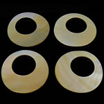 Pendants Natyrore Shell Verdha, Petull e ëmbël në formë gjevreku, natyror, 34-35x34-35x1-2mm, : 18mm, 20PC/Qese,  Qese
