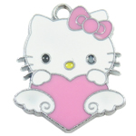 Animal Style Enamel Pendant, zinc alloy, hello kitty shape, 26x21x1.5mm, Hole:Approx 2MM, Sold by PC