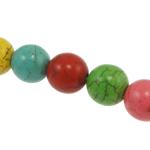 Türkis Perlen, Synthetische Türkis, rund, gemischte Farben, 8mm, Bohrung:ca. 1mm, ca. 48PCs/Strang, verkauft per ca. 15 ZollInch Strang