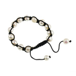 Ujërave të ëmbla Pearl Shamballa Bracelets, Pearl kulturuar ujërave të ëmbla, with Cord Wax, Shape Tjera, i lyer, e bardhë, 7-11mm, :7Inç,  7Inç,