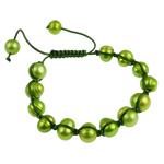 Ujërave të ëmbla Pearl Shamballa Bracelets, Pearl kulturuar ujërave të ëmbla, with Cord Wax, Shape Tjera, i lyer, e gjelbër, 7-11mm, :7Inç,  7Inç,