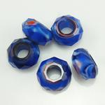 European Kristall Perlen, Millefiori Kristall, Rondell, ohne troll, blau, 14x7mm, Bohrung:ca. 6mm, 50PCs/Strang, verkauft per 14 ZollInch Strang