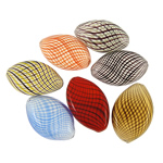 Beads lulëzim Lampwork, Oval, punuar me dorë, ngjyra të përziera, 42x28mm-46x26mm,, : 1mm, 100PC/Qese,  Qese