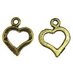Metalllegierung Anhänger, Metallisches Legieren, Herz, antike Goldfarbe plattiert, 13x16.50x2mm, Bohrung:ca. 1.5mm, 3kg/Menge, verkauft von Menge