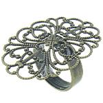 Filigran Brass Ring Base, Tunxh, Ngjyra antike bronz i praruar, asnjë, , nikel çojë \x26amp; kadmium falas, 33.8x26mm, 4.8mm, : 17mm, :7, 200PC/Qese,  Qese