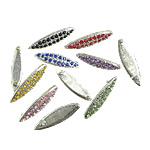 Metallisches Legieren Cabochon, Pferdeauge, Platinfarbe platiniert, mit Strass, gemischte Farben, 27x7.70x2.80mm, 3kg/Menge, verkauft von Menge