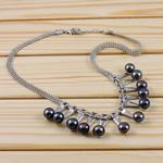 Ujërave të ëmbla Pearl gjerdan Zinxhiri tunxh, Pearl kulturuar ujërave të ëmbla, Round, e zezë, 8-9mm, :15Inç,  15Inç,