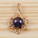 Pendants Pearl ujërave të ëmbla, Pearl kulturuar ujërave të ëmbla, Gjethe, natyror, vjollcë, 21x35x12mm, 10-11mm, : 2x5.5mm,  PC