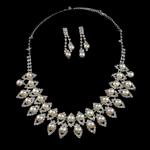 Natyrore kulturuar Pearl ujërave të ëmbla bizhuteri Sets, Pearl kulturuar ujërave të ëmbla, with Diamant i rremë, Round, natyror, e bardhë, 9-10mm, 8-9mm, :17.5Inç,  I vendosur