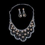 Natyrore kulturuar Pearl ujërave të ëmbla bizhuteri Sets, Pearl kulturuar ujërave të ëmbla, with Diamant i rremë, Round, natyror, rozë, 7-8mm, 18x56mm, :17.5Inç,  I vendosur