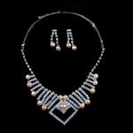 Natyrore kulturuar Pearl ujërave të ëmbla bizhuteri Sets, Pearl kulturuar ujërave të ëmbla, with Diamant i rremë, Round, natyror, rozë, 7-9mm, 7-8mm, :17.5Inç,  I vendosur