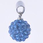 Varëse diamant i rremë, Round, me diamant i rremë, Lt Sapphire, 10x19mm, : 3x5mm, 10PC/Qese,  Qese