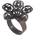 Filigran Brass Ring Base, Tunxh, ngjyrë bakri të praruar antike, asnjë, , nikel çojë \x26amp; kadmium falas, 25x24mm, 5mm, : 17mm, : 25x24mm, :7, 100PC/Qese,  Qese