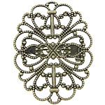 Gjetjet karficë tunxh, Oval, Ngjyra antike bronz i praruar, filigran, asnjë, , nikel çojë \x26amp; kadmium falas, 26x34x1mm, 21mm, 100PC/Qese,  Qese