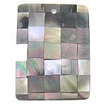 Pendants Natyrore Zi Shell, Black Shell, Drejtkëndësh, approx 40x29x4mm, : 1.7mm, 10PC/Qese,  Qese