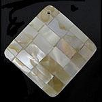 Pendants Natyrore Shell Verdha, Romb, natyror, approx 38x38x6mm, : 1.5mm, 10PC/Qese,  Qese