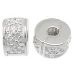 925 Sterling Silver European Clip, Rondelle, argjend praruar vërtetë, asnjë, 5.80x9.50mm, : 3mm, 5PC/Qese,  Qese