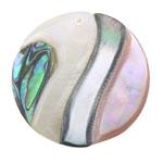 Pendants Shell, Predhë, Round Flat, approx 35x35x5mm, : 1mm, 10PC/Qese,  Qese