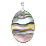 Pendants Shell, Predhë, Oval, approx 44x30x4mm, : 11x4.5mm, 10PC/Qese,  Qese