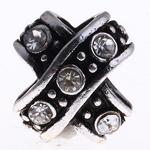 Beads European aliazh zink, Alloy zink, Kryq, pa karrem & me diamant i rremë, , nikel çojë \x26amp; kadmium falas, 11x11x9mm, : 5mm, 10PC/Qese,  Qese
