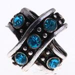 Beads European aliazh zink, Alloy zink, Kryq, pa karrem & me diamant i rremë, uji blu, , nikel çojë \x26amp; kadmium falas, 10x10x11mm, : 5mm, 10PC/Qese,  Qese